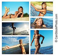 plezier, zomer, collage