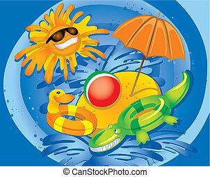 plezier, zomer, (vector)