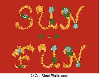 plezier, zomer, vector, vrolijke , zon