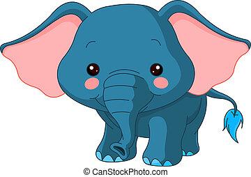 plezier, zoo., elefant