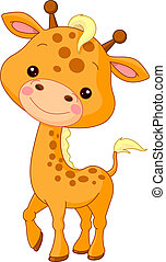 plezier, zoo., giraffe