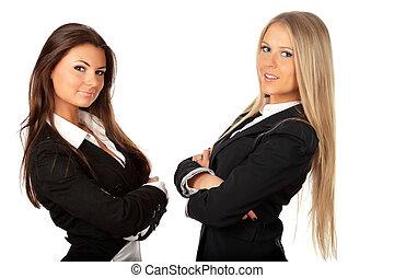 plié, jeune, isolé, confiant, deux mains, blanc, femmes affaires