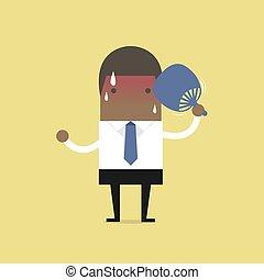 plier, blow., très, chaud, ventilateur, africaine, homme affaires