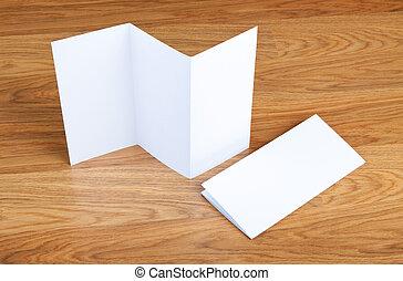 plier, bois, livret, arrière-plan., page blanche