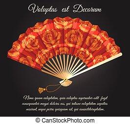 plier, chinois, rose, ventilateur, affiche, fleurs