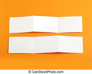 plier, livret, arrière-plan., vide, orange, page