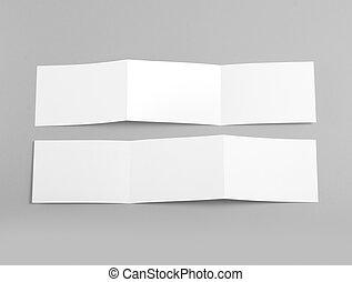 plier, livret, gris, arrière-plan., page blanche