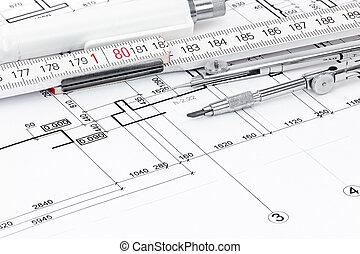 plier, stylo, compas, architectural, règle, dessin