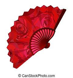 plier, ventilateur, illustration, rose rouge, fleurir, ...