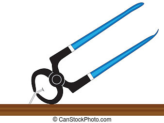 Pliers and nail - Illustration of pilers, pulling a nail out...