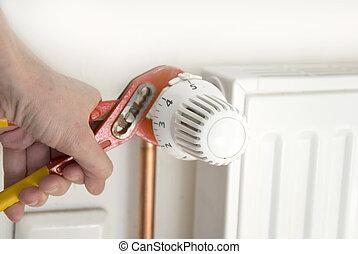 pliers and radiator
