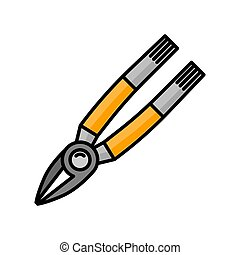 pliers flat illustration. icon for design and web.