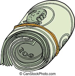 plik, sto dolarów, jeden, banknotes, dziąsło