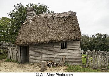 plimoth, viejo, ma, edificios, plymouth, plantación