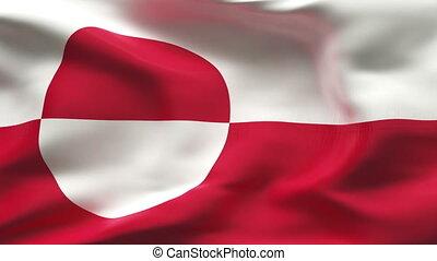 plissé, drapeau, groenland, vent