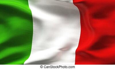 plissé, drapeau, italie, vent