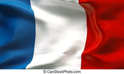 plissé, drapeau, vent, france