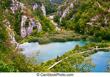 plitvice, 公園, 國家, 克羅地亞, 湖