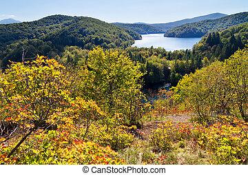 plitvice, automne, panorama