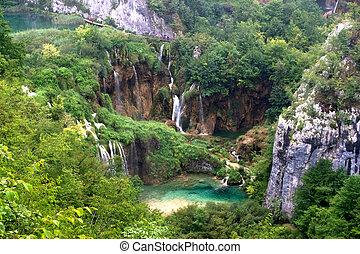plitvice, cascata, paesaggio, con, lago