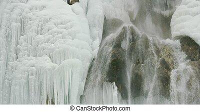 plitvice, chute eau, lacs, détail