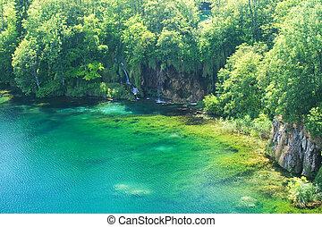 plitvice, (croatia), sezione, di, lago, e, cascata