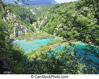 plitvice, horvátország, nemzeti park, tavak