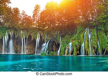 plitvice, horvátország, vízesés
