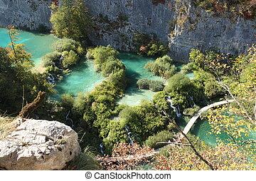 plitvice, krajowy, jeziora, scene., park, cichy, europe.,...