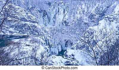 plitvice, laghi, paesaggio inverno