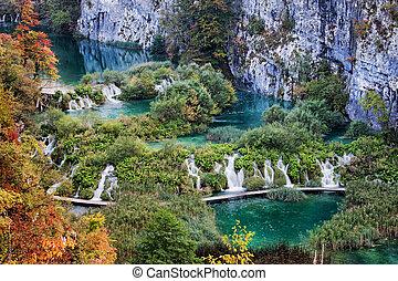 plitvice, laghi, parco nazionale, paesaggio, in, croazia