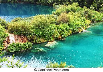 plitvice, lago, con, magia, colori