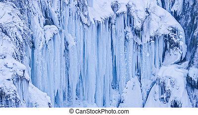 Plitvice lakes frozen waterfall