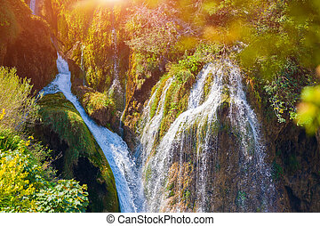Plitvice lakes of Croatia - national park in autumn