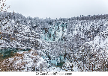 Plitvice lakes panorama - Winter panorama of frozen...