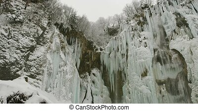Plitvice lakes waterfall detail - Frozen waterfalls at...
