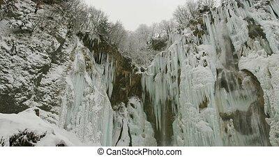 Plitvice lakes waterfall detail - Frozen waterfalls at...