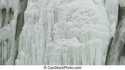 Plitvice lakes waterfall detail - Detail of the frozen...