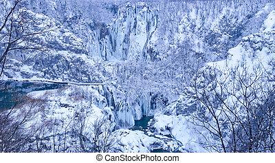 Plitvice lakes winter landscape