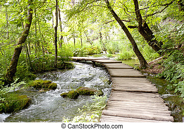 Croatia, Plitvice lakes - small wooden pathway on the lakes.