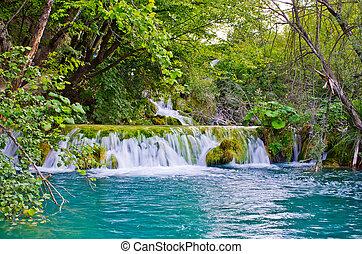 plitvice, liget, vízesés, horvátország, tavak