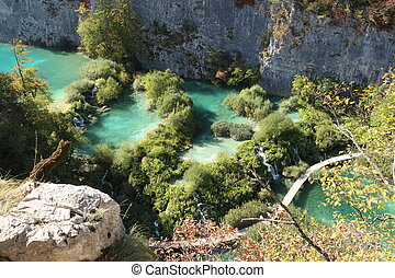plitvice, national, lacs, scene., parc, tranquille, europe., croatie