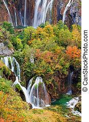 plitvice, nemzeti park, tavak, vízesés
