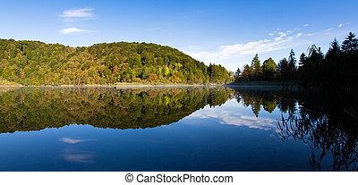 plitvice, riflessione lago