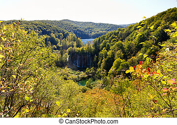 Beautiful viewpoint in Plitvice national park in Croatia in autumn