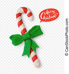 Pllasticine illustration of Christmas candy cane