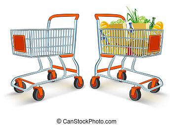 plný, a, neobsazený, shopping vozík, od, supermarket, sklad