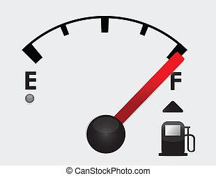 plný, nádrž na benzin