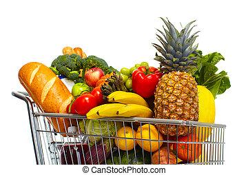 plný, potraviny, cart.