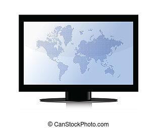 plochá obrazovka, jádro, mapa